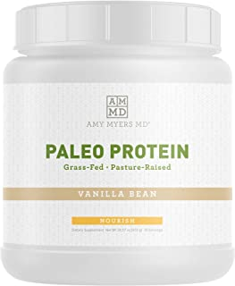 Pure Paleo Protein by Dr. Amy Myers – Clean Grass Fed, Pasture Raised Hormone Free Protein, Non-GMO, Gluten & Dairy Free – 21g Protein Per Serving – Vanilla Bean Shake for Paleo and Keto