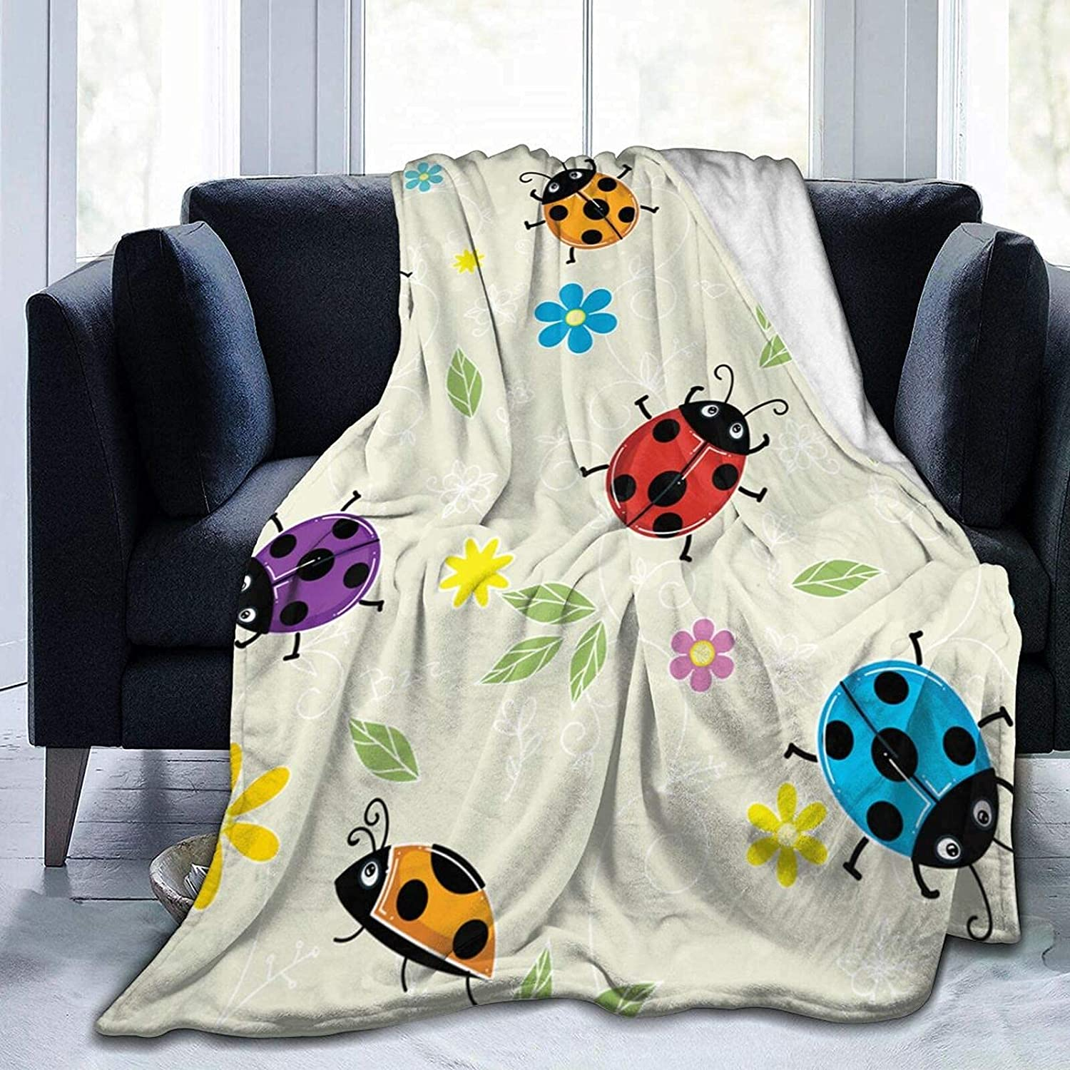 Blanket Ladybugs Cute Floral Soldering Fleece Flannel C Throw Max 54% OFF Blankets for
