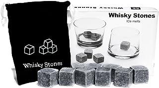 9er SET Whisky-Steine aus natürlichem Speckstein für Getränke on the rocks, Kühlsteine im praktischen Stoffbeutel ARTUROLUDWIG