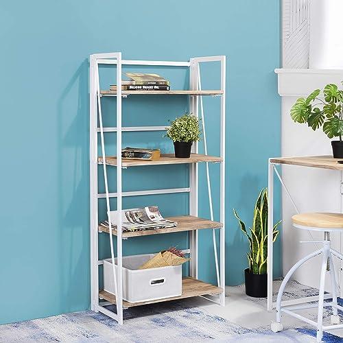 FurnitureR Sin Ensamblaje Estantes Plegables con 4 Repisas Estilo Moderno y del Norte de Europa Elegante Librero Esta...