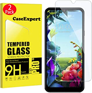 CaseExpert 2-pack – LG K40S härdat glas, kristallklart skärmskydd skydd och putsduk för LG K40S