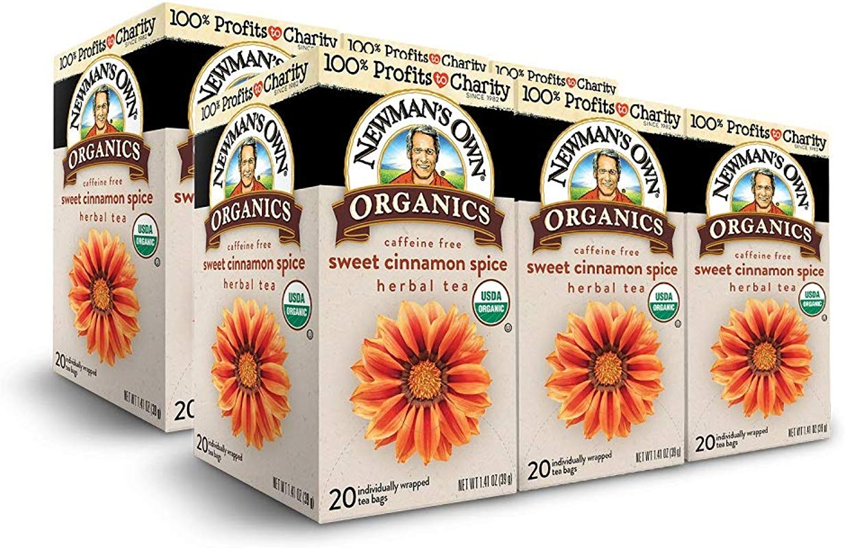 Newman S Own Organics Sweet Cinnamon Spice Herbal Tea 20 Count Pack Of 6