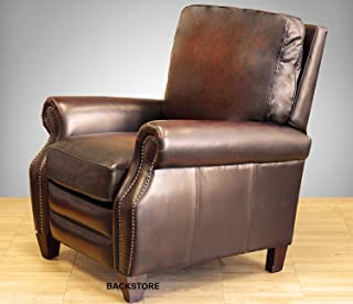 Barcalounger Briarwood II Leather Electric Power Recliner Stetson Bordeaux Top Grain Leather Chair with Espresso Wood Legs 9-4490 5407-17 - Standard Curbside Delivery to Hawaii, Alaska, Puerto Rico and Canada