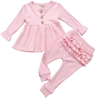 Infant Baby Girls Knitted Outfits Newborn Long Sleeve Top Dress+Fold Ruffle Pants 2Pcs Pajama Set Clothes