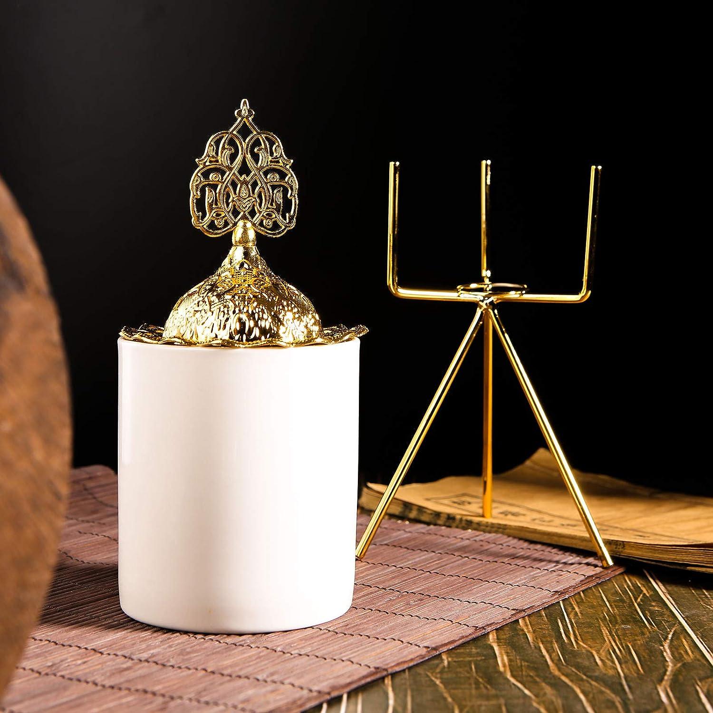 DaiWeier Navidad Quemador de Incienso de Cerámica Esmaltada, con Quemador y Soporte de Torre, Incienso de Cono Soporte de Aleación, Decoración para Hogar, Oficina, Casa de Té(Dorado)