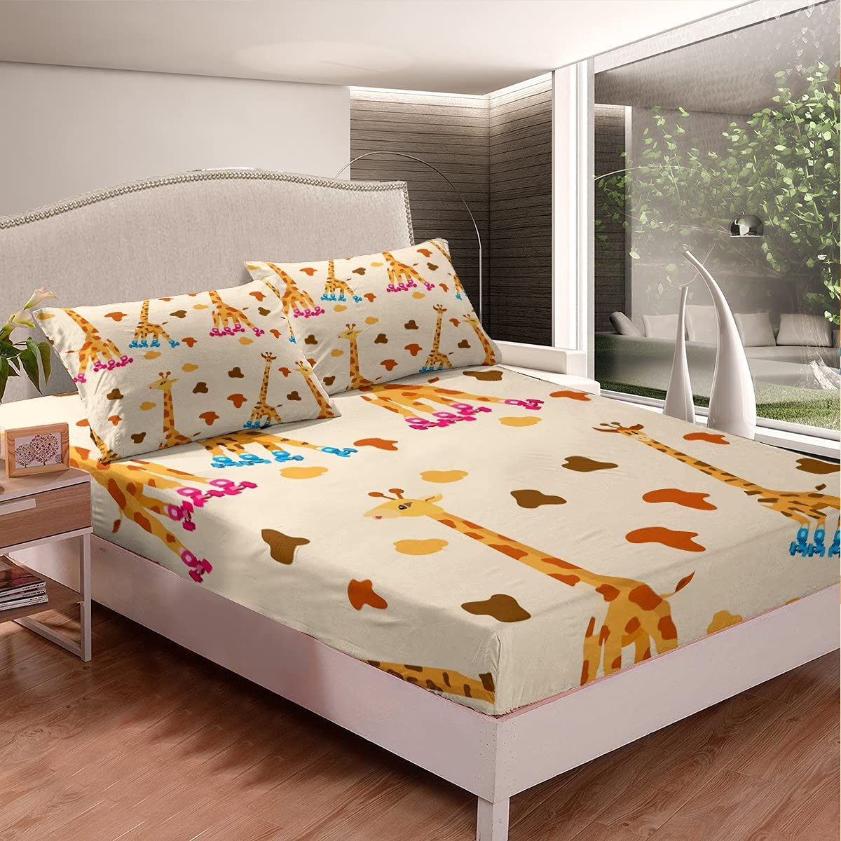 Directly managed store Giraffe Kids Fitted Sheet Twin Skating Lov 55% OFF Cartoon Size
