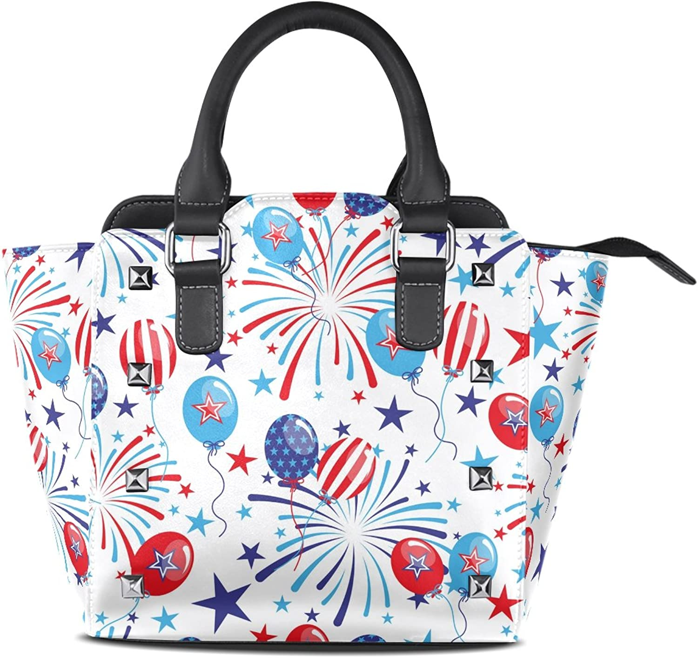 My Little Nest Women's Top Handle Satchel Handbag Balloons Fireworks Ladies PU Leather Shoulder Bag Crossbody Bag