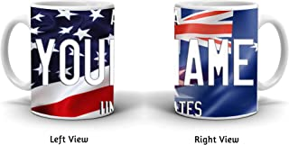 BRGiftShop Personalize Your Own Mixed USA and Australia Flag 11oz Coffee Mug