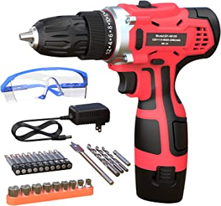 GardenJoy Electric Power Drill Cordless: 12V Impact Drill Driver Set with 2 Variable Speed 3/8'' Keyless Chuck 24+1 Torque...