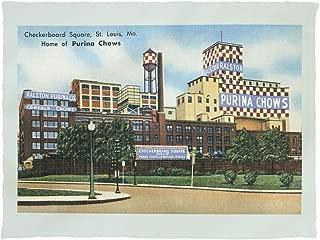 Lantern Press St. Louis, Missouri - Exterior View of Checkerboard Square, Ralston Purina Company 35559 (60x80 Poly Fleece Thick Plush Blanket)