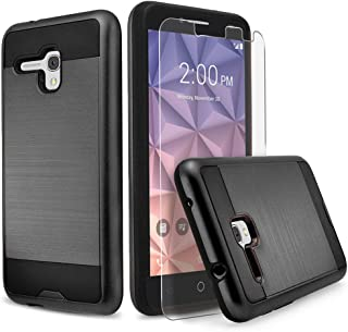 Alcatel OneTouch Fierce XL Case, Alcatel Flint Case, Alcatel Pixi Glory 4G LTE Case, Circlemalls 2 pieces Hybird Shockproof Phone Cover With[HD Screen Protector] And Circlemalls Stylus Pen[Black]
