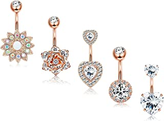 Finrezio 5Pcs 14G Belly Button Rings Surgical Steel Sunflower Flower Rose Heart CZ Navel Ring Set Rose Gold Silver Tone Belly Piercings Body Jewelry