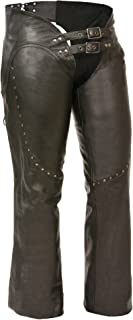 Milwaukee Women's Low Rise Double Buckle Leather Chaps (Black, 5X-Large)