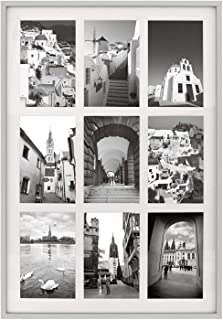 Golden State Art 13.6x19.7 Silver Aluminum Metal Collage Frame - Ivory Mat Included - Fits Nine 4x6 Photos/Pictures - Sawtooth Hanger - Swivel Tabs - Wall Mounting - Landscape/Portrait - Real Glass