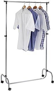 IDIMEX Portant à vêtements Tiger penderie Simple sur roulettes vestiaire Mobile avec 1 Barre de Hauteur réglable, en métal...