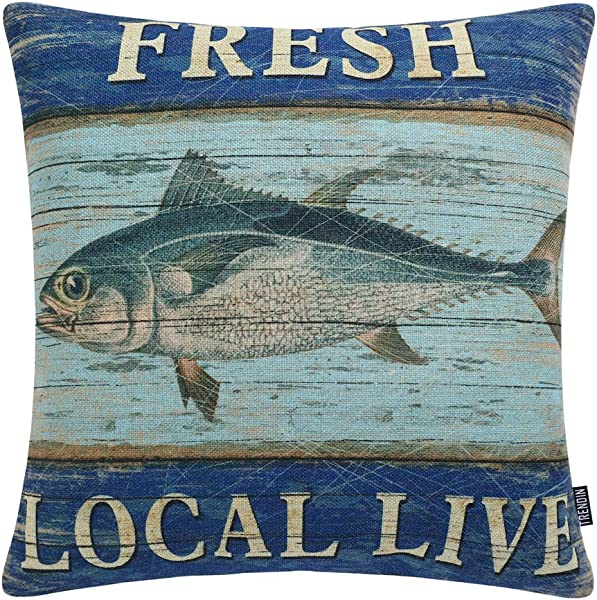 TRENDIN Vintage Fresh Local Live Fish Style Cotton Linen Square Decor Throw Pillow Covers 18 X 18 Inches PL206TR