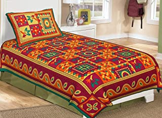 VintFlea 'Handicraft Classic Kantha Cotton Single Bed Sheet' with Pillow Cover, Attractive Bedspread, Traditional Modern Jaipuri Look, for Bedroom Decor - 218 cm x 142 cm