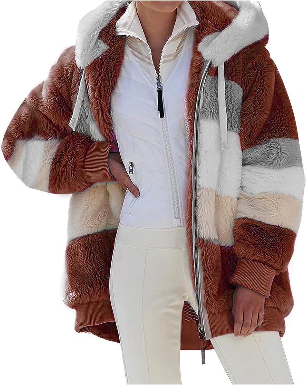 Women Jacket Winter Warm Plush Long Hooded Outwear Casual Loose Fashion Color Block Lamb Wool Coat with Zipper