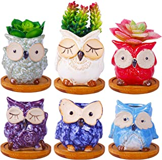 6 Pcs 2.8 Inches Owl Pots with Bamboo Trays, Little Ceramic Succulent Owl Planters with Drainage Holes
