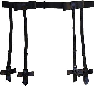 TVRtyle Women Big Bow Black Simplicity Elasticity Metal Clips Sexy Garter Belt for Stockings S510