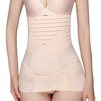Postpartum Belly Band, 3 in 1 Recovery Belly Belt Wrap/Waist Shapewear Slimming Girdle Support Band Body Shaper for Postnatal, Maternity, Women, Beige XL
