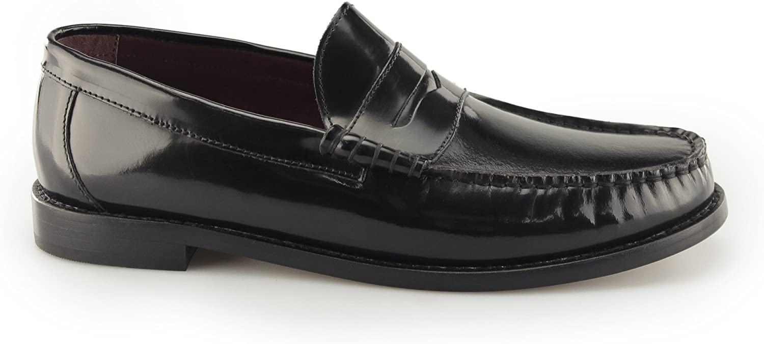 Steptronic ALBION Mens Polished Leather Loafer shoes Black