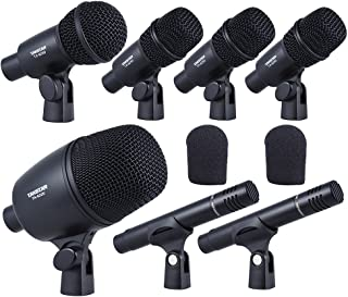 ammoon TAKSTAR DMS-7AS Wired Microphone Mic Kit for Drum Set with Standard Mounting Thread Carrying Case 1 Big Drum Microphone 4 Small Drum Microphones 2 Condenser Microphones (Type 1)