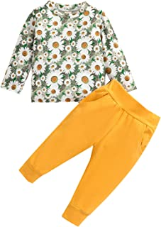 Toddler Baby Girl Flowers Clothes Long Sleeve Sweatshirt Pullover Tops Long Pant Set Daisy Fall Winter Outfits, Yellow, 2-3T