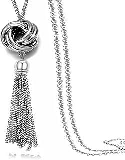 Long Tassel Necklace Silver Tone Lovely Knot Tassel Pendant Knot Snake Chain for Women