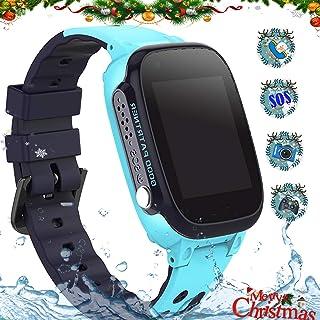 Reloj Inteligente para Niños Smartwatch Telefono IP67 Impermeable con LBS Rastreador Conversación Bidireccional Llamada por Voz Chat SOS Cámara Despertador Juego para Niños Niña 3-12 Años (S2 Blue)