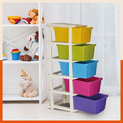 Bathla Stomo 5 - Extra Large Multi-Purpose Modular Drawer Storage System for Home and Office with Trolley Wheels and ...
