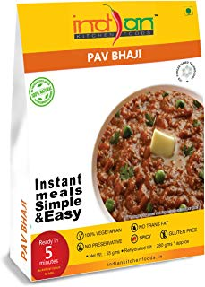 Indian Kitchen Foods Mashed Vegetable Curry (Pav Bhaji) - Freeze Dried Gluten-Free Gourmet Indian Entree Ready in 5 min Vegetarian Meal, 10 oz