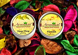Arvedikas Natural Solid Perfume Beeswax/Mini Jar / / Women Aromatic Scent/Pocket Size Compact Cologne/Scented Balm/Skin Friendly/Alcohol Free / 6gm (Set of 2pc) (Ylang-Ylang & Vanilla)