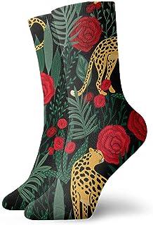 Elsaone, patrón con calcetines de leopardos y rosas tripulación para hombres mujeres niños trekking rendimiento al aire libre 30 cm / 11.8 pulgadas