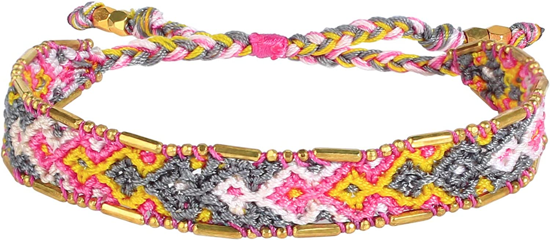 KELITCH Beach Friendship Bracelet For Men Women Woven Braided Cuff Crystal Wrap Ankle Bracelets String Fashion Gift