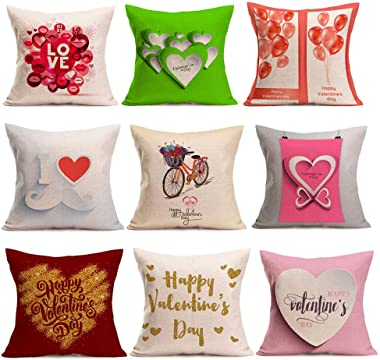 Mome 💗Throw Pillow Case💗Valentine's Square Decorative Throw Pillow Cases Soft Microfiber Outdoor Cushion Covers 18 X 18 for Sofa Bedroom (E)