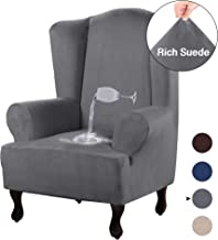 Turquoize Wing Chair Slipcovers with Arms Gray Slip Cover Chair Suede Sofa Protector 1-Piece Spandex Stretch Arm-Chair with Wingback Couch Slip Covers Furniture Protector Shield (Wing Chair, Grey)