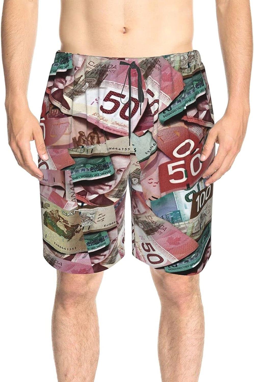 JINJUELS Mens Swim Trunks Canada Dollars Swim Board Shorts Quick Dry Comfy Swimwear Bathing Suits with Pockets