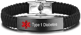 Type 1 Diabetes Medical ID Alert Bracelet for Women Handmade Nylon Braided Bracelet, Adjustable