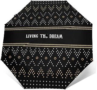 Paraguas Plegable Automático Impermeable Lema geométrico, Paraguas De Viaje Compacto A Prueba De Viento, Folding Umbrella,...