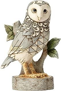 Enesco Jim Shore Heartwood Creek White Woodland Owl On Branch Stone Resin Figurine, 4.49