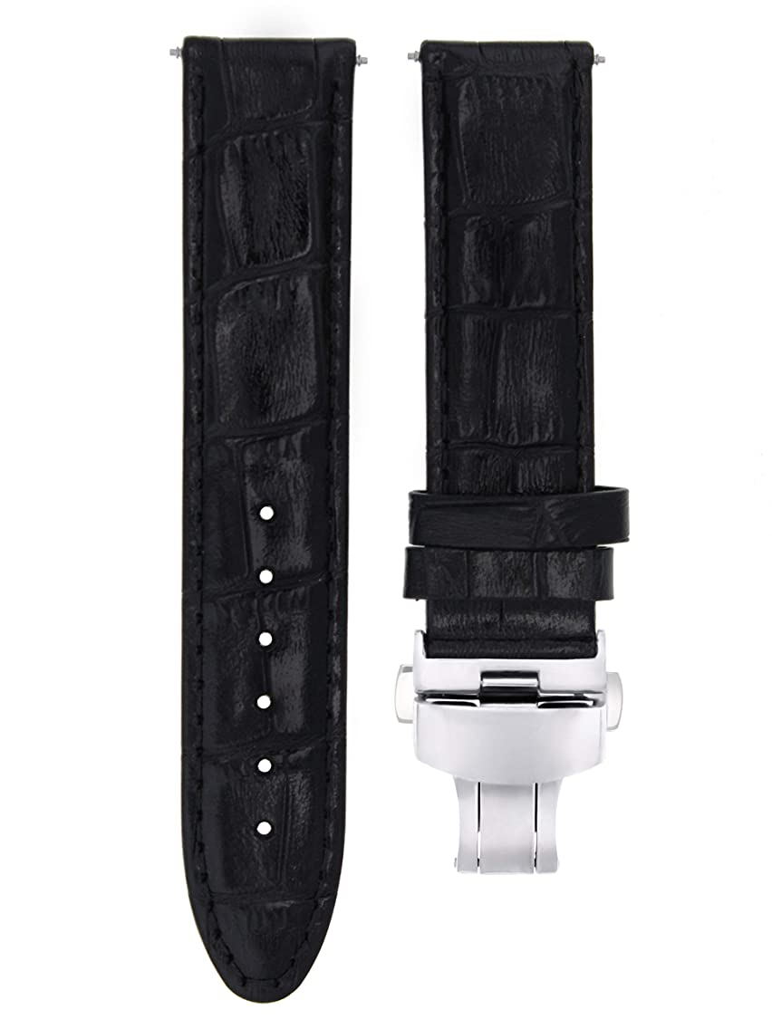 18MM Leather Watch Strap Band Clasp for Omega SEAMASTER, SPEEDMASTER Black #7