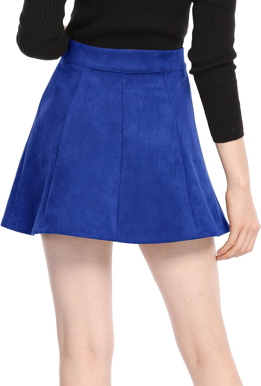 Allegra K Womens Faux Suede Button Closure A-Line High Waisted Flared Mini Short Skirt