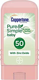 Coppertone Pure & Simple Baby Mineral-Based Sunscreen Stick Broad Spectrum SPF 50 (0.5 Ounce) (Packaging may vary)