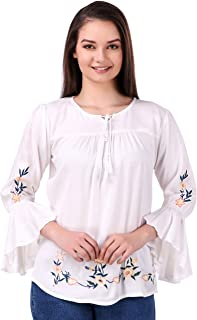 53c43315 Elyraa Women's Embroidered Rayon Cotton Top for Dailywear Casual Women/Girls  Tops