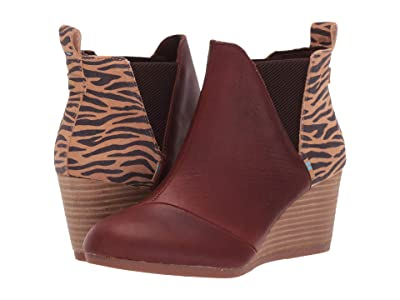 TOMS Kelsey (Dark Brown Pull Up Leather/Zebra Suede) Women