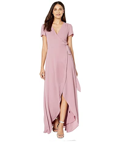 WAYF Zoey Short Sleeve Wrap Dress (Mauve) Women
