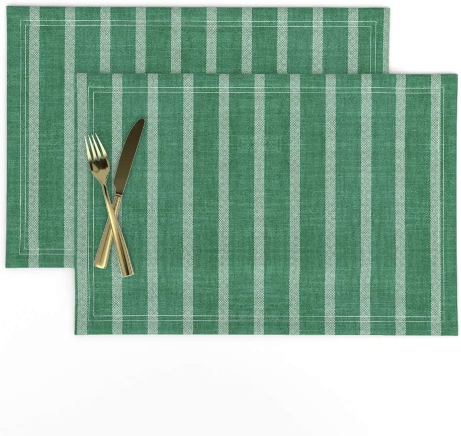 Amazon Com Roostery Cloth Placemats Stripes Forest Green Rustic Woodland And White Lines Classic Geometric Print Linen Cotton Canvas Placemats Set Of 2 Home Kitchen