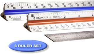 """Creative Edge Architectural Scale Ruler - Set of 3 Rulers   2 Triangular 12"""" Architect Rulers with Imperial Scale and 1 Standard 12"""" Stainless Steel Ruler - Color Coded"""