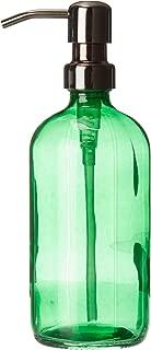 Industrial Rewind Bankers Green Glass Kitchen/Bathroom Hand Soap Dispenser with Gun Metal Bronze Metal Pump - Green 16oz Glass Bottle Lotion Bottle